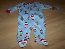 Infant Size 0-3 Months Blue Holiday Fleece Footed Sleeper Santa Deer Snowman New