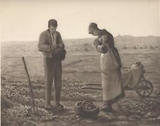 1889 11X9.5 PHOTOGRAVURE OF PAINTING BY JEAN-FRANCOIS MILLET -THE ANGELUS