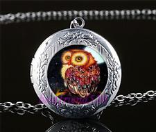 Moonlight Owl Photo Cabochon Glass Tibet Silver Locket Pendant Necklace#A26
