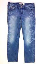 Hollister light wash floral denim jeans ankle cropped size 3 26