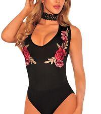 Women's Embroidered Rose Choker Bodysuit - Size (USA 16-18) XL, (USA 18-20) XXL