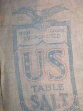 VINTAGE Salt Bag - Cloth - US Table Salt Union Salt Co. Ohio - 2 Sided 8 lb Sack