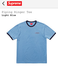 Supreme Piping Ringer Tee T-Shirt Size Large Light Blue SS18KN39 SS18 Brand New