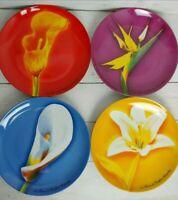 Set Of 4 Vintage Flower Plates Givenchy Paris Les Fleurs de Parfums Porcelain