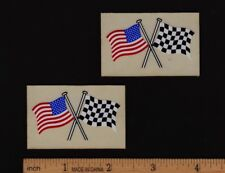 AMERICAN / CHECKERED FLAG STICKER Decal Vintage Motocross Enduro Motorcycle