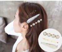 3 Pcs Korean Girl Pearl Hair clips Barrettes Bobby Pin Hair pin Headwear