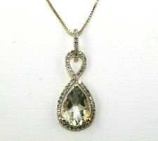Natural Pear Shape Green Amethyst & Diamond Halo Pendant 14K Yellow Gold 1.97Ct