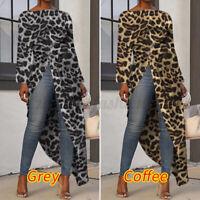 Womens Long Sleeve Leopard Asymmetric Hem Tops Loose Shirt Casual Blouse Tunic