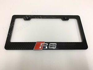 1x R8 3D Emblem Real 3K TwillWeave CARBON FIBER License Plate Frame Holder
