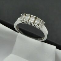 925 Sterling Silver 5 Oval White Stone DQCZ Set Band Ring ~ Size P ~
