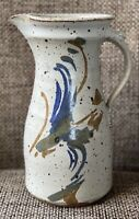 "Hand Thrown Stoneware Glazed Studio Pottery Water Pitcher 10"" tall 1.7L Signed"