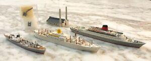 Mercator Triang Wiking Lot of 3 Diecast Plastic Passenger & Cargo Ships 1:1250