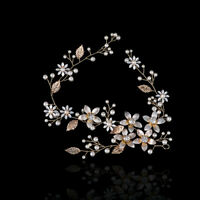 Elegant Wedding Pearl Flowers Leaf Headband Bridal Hairband Hair Accessories