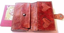 FRENCH 1920s WOMAN LEATHER SMALL WALLET~HAND-TOOLED HEARTS~MADE IN FRANCE~UNIQUE