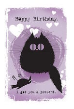 MAD OLD CAT LADY GREETING CARD: I GOT YOU A PRESENT - NEW IN CELLO