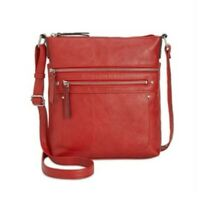 INC Women's Riverton Faux Leather Handbag Shoulder Purse Crossbody Bag Red NEW