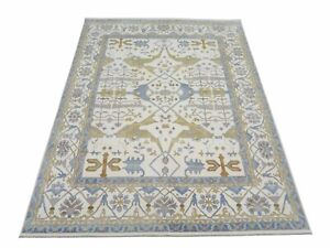 """12X15 Oushak Area Rug Ivory Hand-Knotted Wool Carpet (12'1"""" x 15'2"""")"""