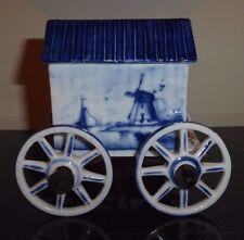 VINTAGE DELFT POTTERY ROYAL EUROPEAN FOUR-WHEELED BOX BATHING MACHINE #1265
