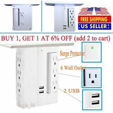 2 USB 6 Wall Outlet Extender 8 Port Surge Protector Sharper Image Socket Shelf
