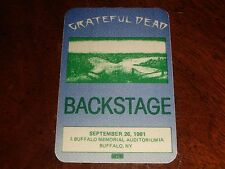Vintage GRATEFUL DEAD BACKSTAGE PASS Buffalo, NY Memorial Auditorium 9/26/81