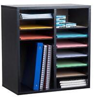 AdirOffice 16 Compartment Adjustable Wood Literature Organizer, Black
