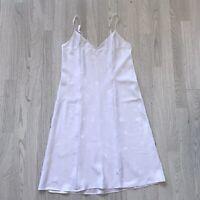 M&S Vintage Full Slip White Silky Soft Jacquard UK 14 AE