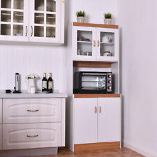 Tall Microwave Cart Stand Kitchen Storage Cabinet Shelves Pantry Cupboard White