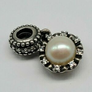 PANDORA Sterling Silver Everlasting Grace Charm Dangle Pearl Clear Stones
