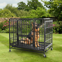 "42"" Heavy Duty Pet Dog Cage Strong Metal Crate Kennel Playpen w/Wheels & Tray US"