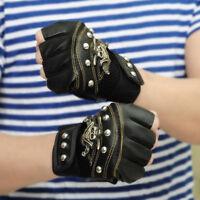 PU Leather Skull Punk Driving Motorcycle Biker Fingerless Gloves For Women Men