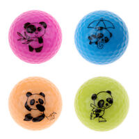 4pcs Premium Synthetic Rubber Golf Practice Ball with Lovely Panda Patterns