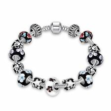 Lau-Fashion 925 Silber Oriental Bettel Armband Kette Charms Anhänger Blumen