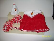 Build A Bear Girls Red CheerLeader Outfit Dress Pom Poms Megaphone Bow