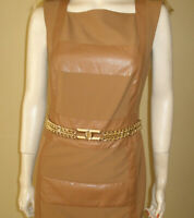 WOW, NEW $8500 ELISABETTA FRANCHI ITALY CHAIN DRESS FABRIC&LEATHER 42/6