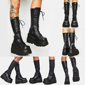 Womens Mid Calf Boots Ladies Gothic Punk Lace Up Chunky High Heel Platform Shoes
