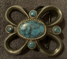 Vintage Turquoise And Silver Ladies Belt Buckle