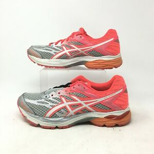 Asics Gel Flux 4 Running Shoes Sneakers Lace Up Mesh Silver Pink Womens 9