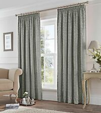 """Lined Pencil Pleat Curtains Fusion Eastbourne Silver Jacquard 66"""" x 90"""" (1124)"""