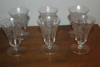 Lot of 6 Vintage ETCHED RIBBED OPTIC GLASSES Floral Pattern