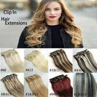 THICK Full Head 100% Russian Human Remy Extensions Clip in Hair double weft