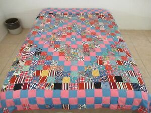 Vintage Feed Sack & Old Cotton, Floral Prints TRIP AROUND THE WORLD Tied Quilt