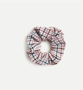 New J Crew Women Tweed Poplin Pink Black Plaid Americana Striped Scrunchie