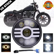 "7"" inch LED Headlight DRL High/Low for Harley-Davidson Honda Yamaha Motorcycle"