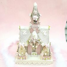 Vintage Style Putz Shabby PINK Glitter Christmas Village House CHIC Roses OOAK