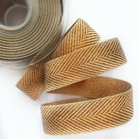 Craft Ribbon Berisfords Copper Metallic Glitter Chevron Zig Zag Woven 1M