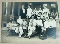 Large Cabinet Card Antique Photo Hotel Restaurant Staff Group blurry motion boy