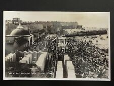 Margate CLIFTONVILLE Palm Bay looking West shows Bathing Huts c1930s RP Postcard