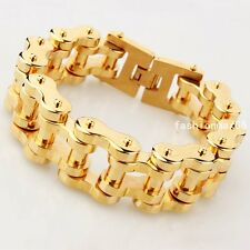 Charm Mens 18K Gold Plated Stainless Steel Heavy Motorcycle Bike Chain Bracelet