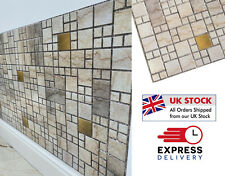PVC Plastic Interior 3D Wall Panels Brick Tiles Cladding - Mosaic Beige & Gold