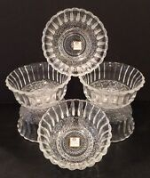 Vintage Set of 6 Cut Glass Bowls By Ocean Glassware New Old Stock With Stickers